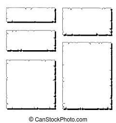 Ein Set weißer, zerrissener Papierrahmen mit Schatten
