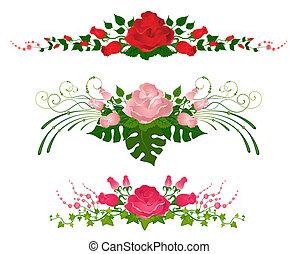 Ein Set wunderschöner Strauße aus Rose