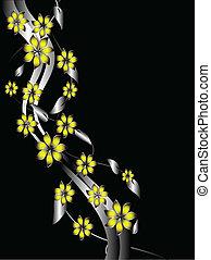 Ein silberner und gelber Blumen Hintergrund