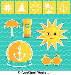 Ein Sommerferienstrand. Umbrella-Sonnenschiff segelt Sonnenbrillen-Creme Anker Lenkrad Insel, Palmen. Gelbgrüne Orange auf blauem Hintergrund. Vector