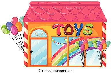 Ein Spielzeugladen auf weißem Hintergrund.