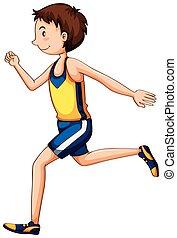 Ein Sportler, der im Rennen ist.