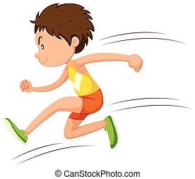 Ein Sportler, der in einem Rennen läuft.