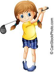 Ein sportliches Mädchen, das Golf spielt.