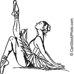 Ein Stück Balletttänzerin. Vektor Illustration