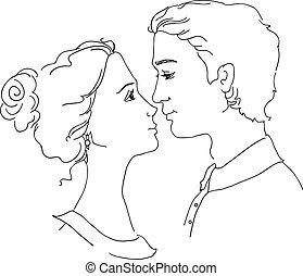 Ein Stück liebendes Paar