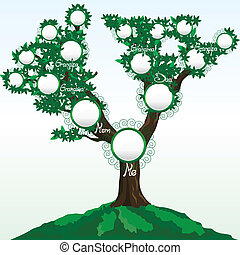 Ein Stammbaum mit Platz für Fotos oder Namen, Vektor Illustration
