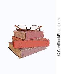 Ein Stapel alter Bücher, alter Style Vektor