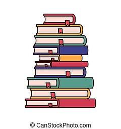 Ein Stapel Bücher isoliert Ikonen.