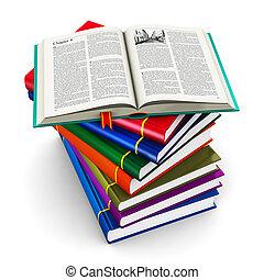 Ein Stapel farbiger Hardcover Bücher.