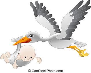 Ein Storch, der ein Neugeborenes zur Welt bringt