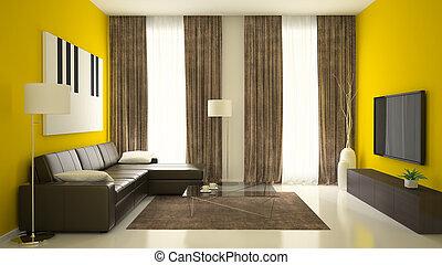 Ein Teil der Innenausstattung mit gelben Wänden.