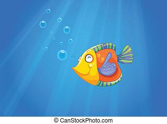 Ein tiefes Meer mit einem Fisch