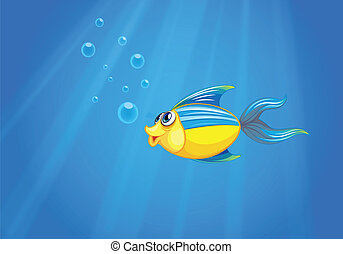 Ein tiefes Meer mit einem Fisch.