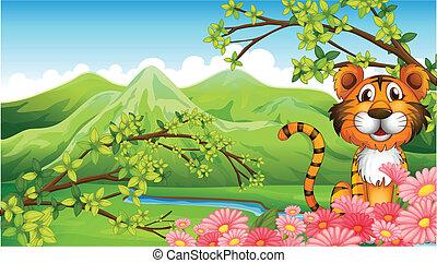Ein Tiger in der Nähe der Blumen über die Berge.