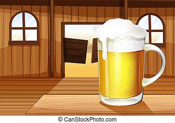 Ein Tisch mit einer Tasse voller Bier