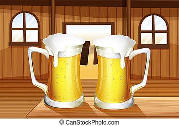 Ein Tisch mit zwei Tassen Bier