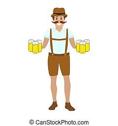 Ein toller Mann mit Bechern Bier in Händen.