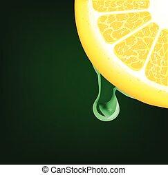 Ein Tropfen auf ein Zitronensegment. Vector Hintergrund
