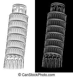 Ein Turm aus Pisa-Zeichnung