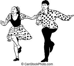 Ein Typ mit einem Mädchen, der Rock and Roll tanzt.