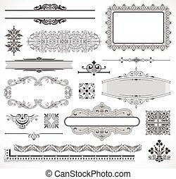 Ein Vektor-Set aus Seiten-Dekorationselementen