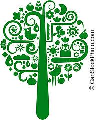Ein Vektorbaum mit Tier- und Blumenkonen
