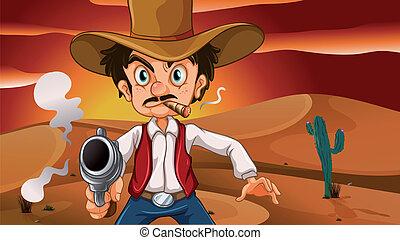 Ein verrückter Cowboy mit einer Waffe.
