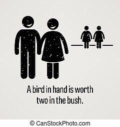 Ein Vogel in der Hand ist zwei wert.