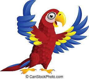 Ein Vogel mit Daumen hoch
