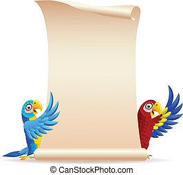 Ein Vogel mit Schriftrollpapier