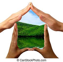 Ein Wahrnehmungssymbol aus Händen