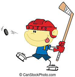 Ein weißer Junge, der Hockey spielt