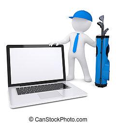 Ein weißer Mann mit einem Laptop