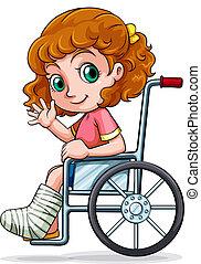 Ein weißes Mädchen, das auf einem Rollstuhl sitzt.
