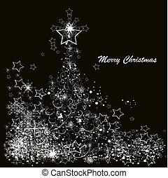 Ein Weihnachtbaum aus Schneeflossen auf schwarzem Hintergrund