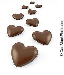 Ein wenig Herz, geformte Schokoladenbonbons