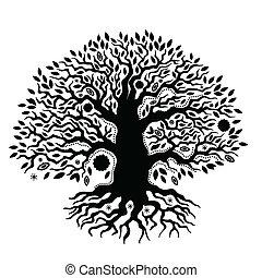 Ein wunderschöner, von Hand gezeichneter Baum des Lebens.
