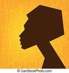 Eine afrikanische Frau steht vor Silhouette