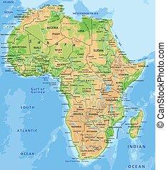 Eine ausführliche Afrika physikalische Karte mit Etiketten.