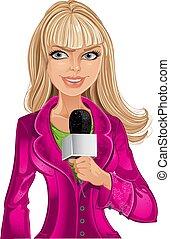 Eine blonde Reporterin mit Mikrofon