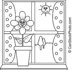 Eine Blume am Fenster zur Farbe