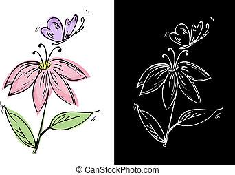 Eine Blume mit einem Schmetterling zu malen