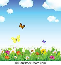 Eine Blume mit Schmetterlingen