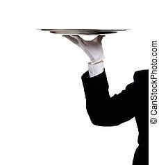 Eine Butlerhand, die ein Silbertablett hält