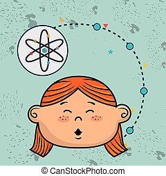 Eine Comic-Atom-Ikone.