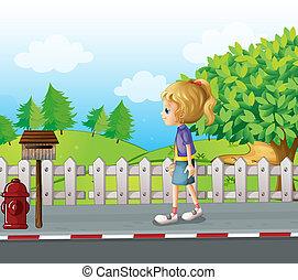 Eine Dame, die allein auf der Straße rumläuft