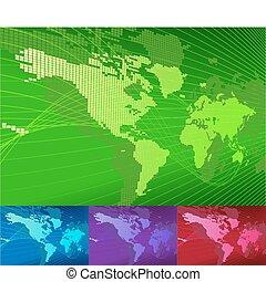 Eine dynamische Weltkarte mit Hintergrund.