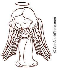 Eine einfache Zeichnung eines Engels, der betet.