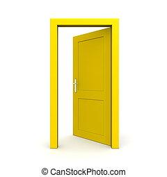 Eine einzelne gelbe Tür öffnen